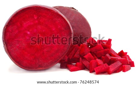 red beetroots isolated on white background - stock photo