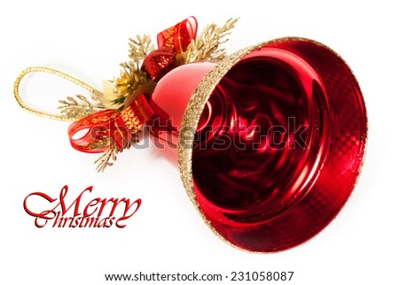 red bell isolated on white - stock photo