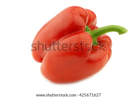 red bell pepper (capsicum) on a white background - stock photo