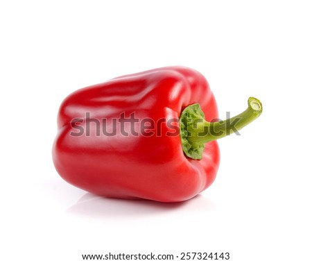 red bell pepper, paprika isolated on white background - stock photo