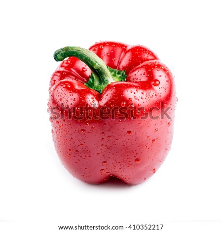 Red bell pepper with water drops, bell pepper photo, bell pepper isolate, bell pepper nobody, bell pepper organic, bell pepper fruit, bell pepper food, bell pepper raw, pepper fruit - stock photo