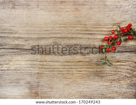 Red berries (cotoneaster horizontalis) on the table. Top view, copy space - stock photo