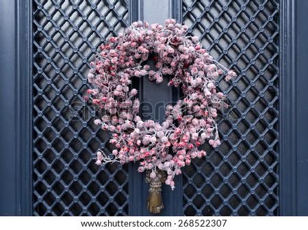 Red Berry Christmas Front Door Decorative Wreath - stock photo