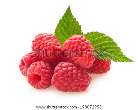 Red berry raspberry isolated on white background - stock photo