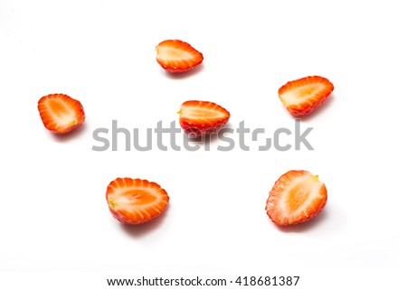 Red berry strawberry isolated on white background. Strawberry isolated on white. Sweet strawberries. Food for health. Slices of strawberry on white. Juicy strawberries for packaging. Eco-friendly food - stock photo