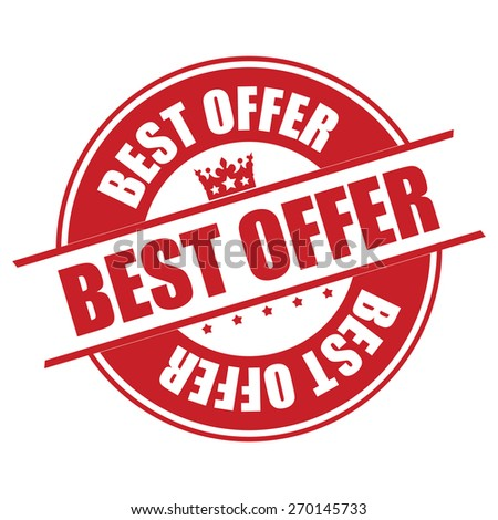 Red Best Offer Banner, Sign, Tag, Label, Sticker or Icon Isolated on White Background - stock photo
