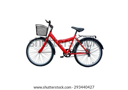 Red bicycle isolated on a white background - stock photo