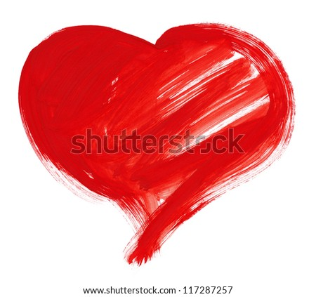 red big heart shape. watercolor drawing - stock photo