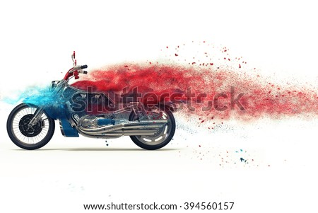 Red bike - particle dispersion - stock photo