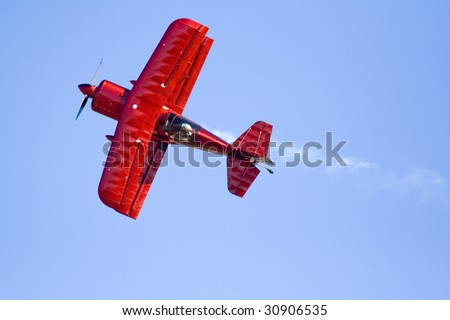 Red Biplane - stock photo
