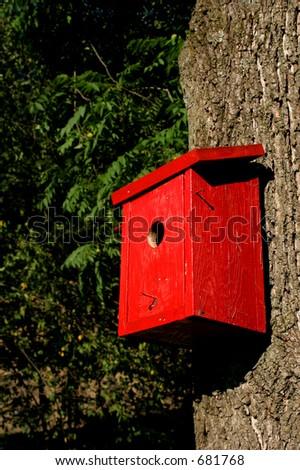 Red Birdhouse - stock photo