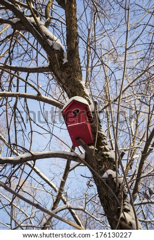 Red birdhouse hanging on a tree in snow - stock photo