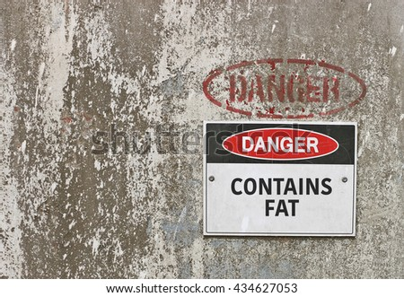 red, black and white Danger, Contains Fat warning sign - stock photo