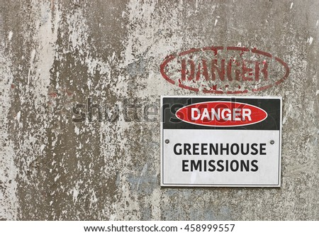 red, black and white Danger, Greenhouse Emissions warning sign - stock photo