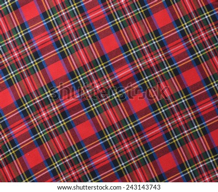 Red black and White rustic plaid fabric swatch textile background. - stock photo