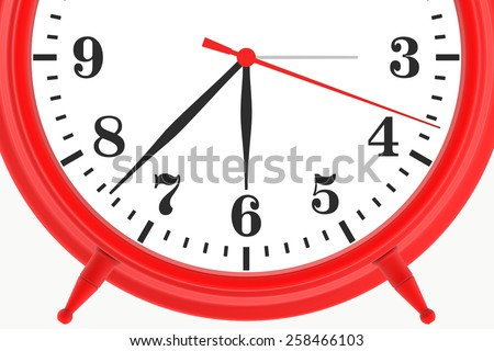 red blank botton alarm clock isolated on white background. 3d render - stock photo