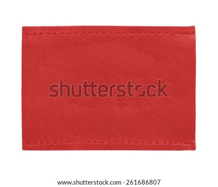 red blank leather  label isolated on white   - stock photo