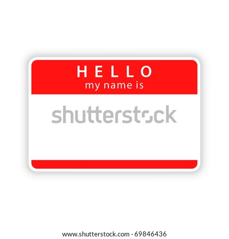 Red blank name tag sticker with shadow on white background. Bitmap copy my vector ID: 55164091 - stock photo