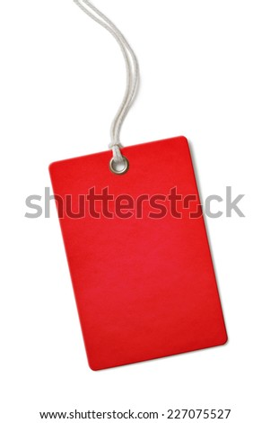 Red blank paper price or sale tag isolated on white - stock photo
