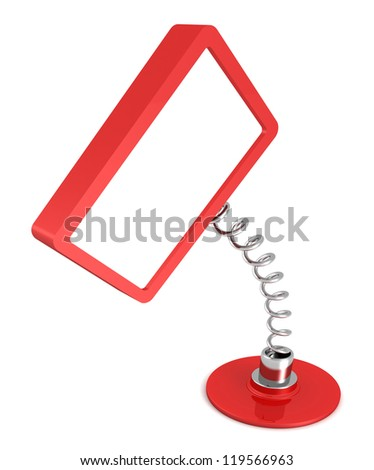 red blank table information banner on white background - stock photo