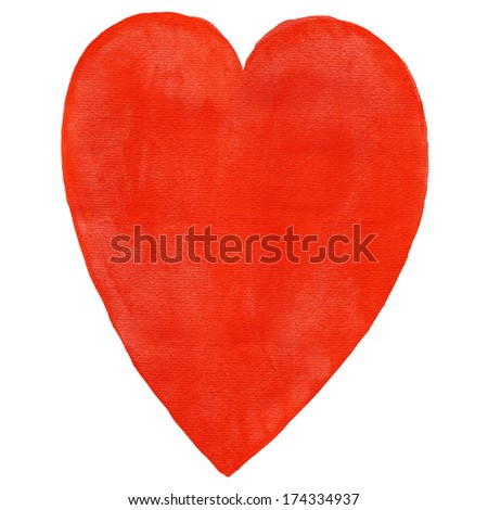 Red blank watercolor heart on white background. Aquarelle template backdrop created in handmade technique. Colored silhouette shape form isolated of square format size.  - stock photo