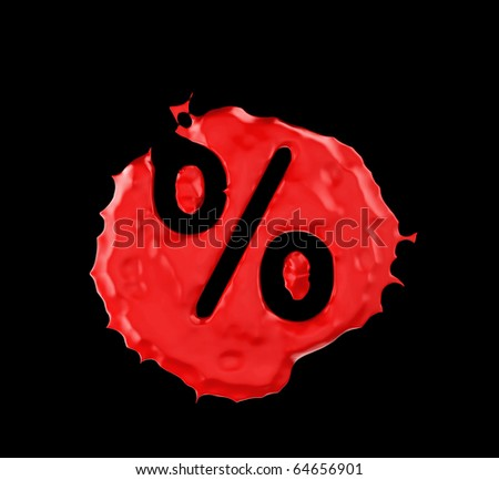 Red blob percent mark over black background. Large resolution - stock photo