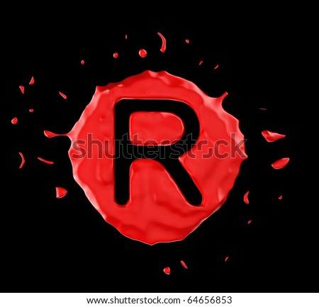Red blob R letter over black background. Large resolution - stock photo