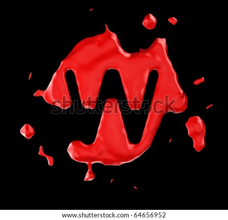 Red blob W letter over black background. Large resolution - stock photo