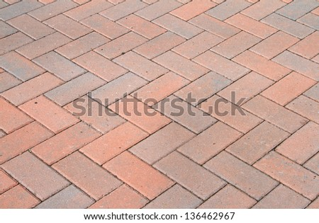 Red block pavior driveway - stock photo