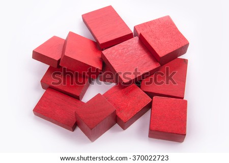 Red block wood for child on white background  - stock photo