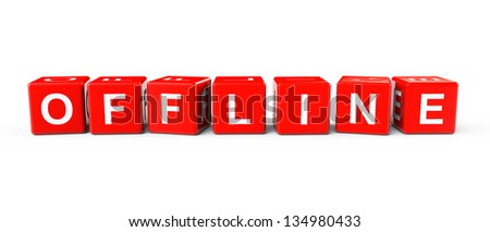 Red Blocks with Offline sign on a white background - stock photo
