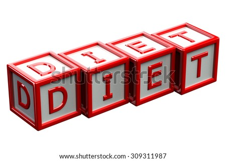 Red blocks with word diet, isolated on white background. 3D render. - stock photo