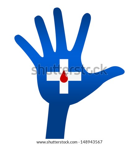Red Blood Drop in Cross Sign on Blue Hand For Blood Donation Concept Isolated On White Background  - stock photo