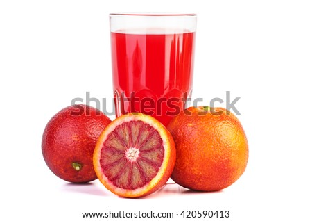 Red bloody orange juice and oranges near  isolated on white background - stock photo