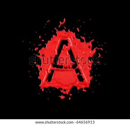 Red blot A letter over black background. Large resolution - stock photo