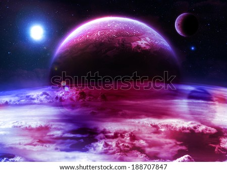 Red & Blue Alien World - Elements of this image furnished by NASA - stock photo