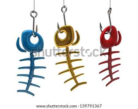 Red, blue and gold fish bone on the hook - stock photo