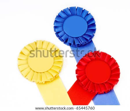 Red , Blue, and Yellow Ribbons on white background with copy space - stock photo