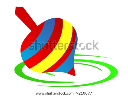 red blue and yellow spinning top - stock photo