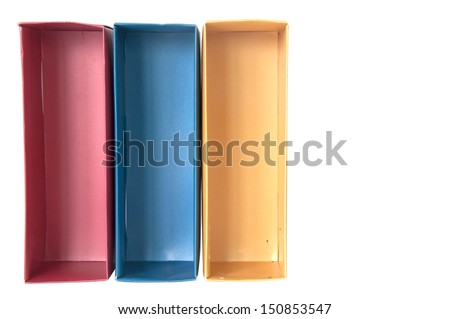 red blue gold paper box on white - stock photo