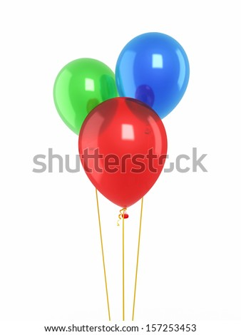 Red blue green balloons render - stock photo