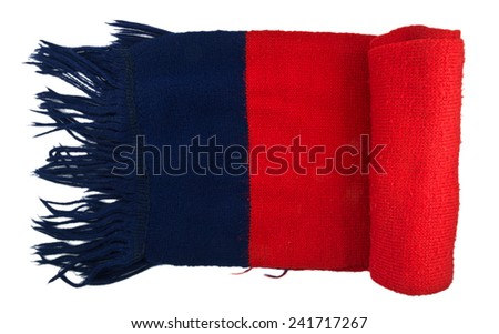 Red blue knitted scarf folded isolated on white background. - stock photo
