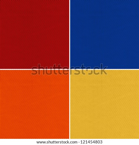 Red, Blue, Orange and Yellow Sport Jersey Mesh Textile - stock photo