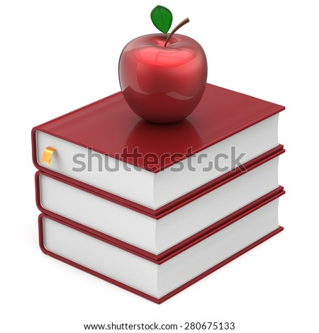 Red books and apple index blank textbooks stack education studying reading learning school college knowledge literature idea icon concept. 3d render isolated on white - stock photo