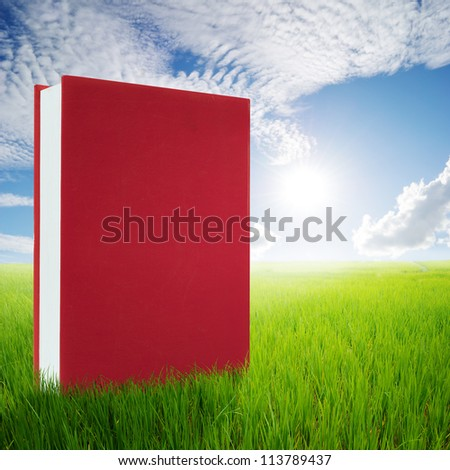 Red Books in green rice  fields and sun sky - stock photo