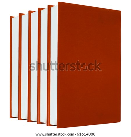 Red books on white background isolated - stock photo