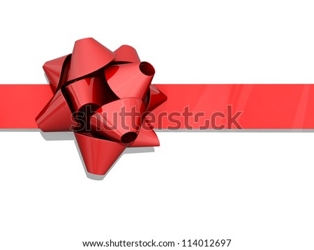 Red bow and ribbon on a white background. - stock photo