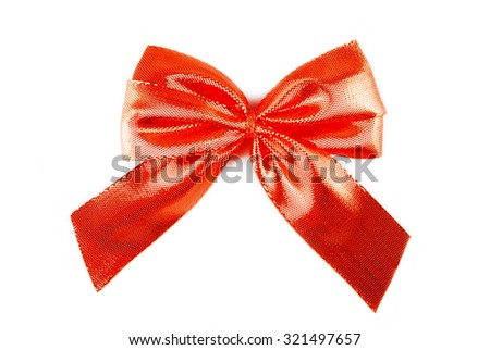 red bow ribbon isolated on white - stock photo