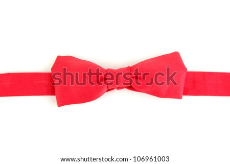 Red bow-tie isolated on white - stock photo