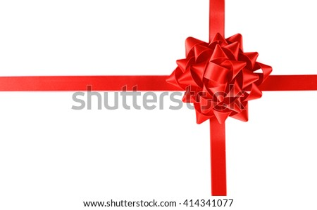 Red bow with crossed ribbon isolated on white background - stock photo